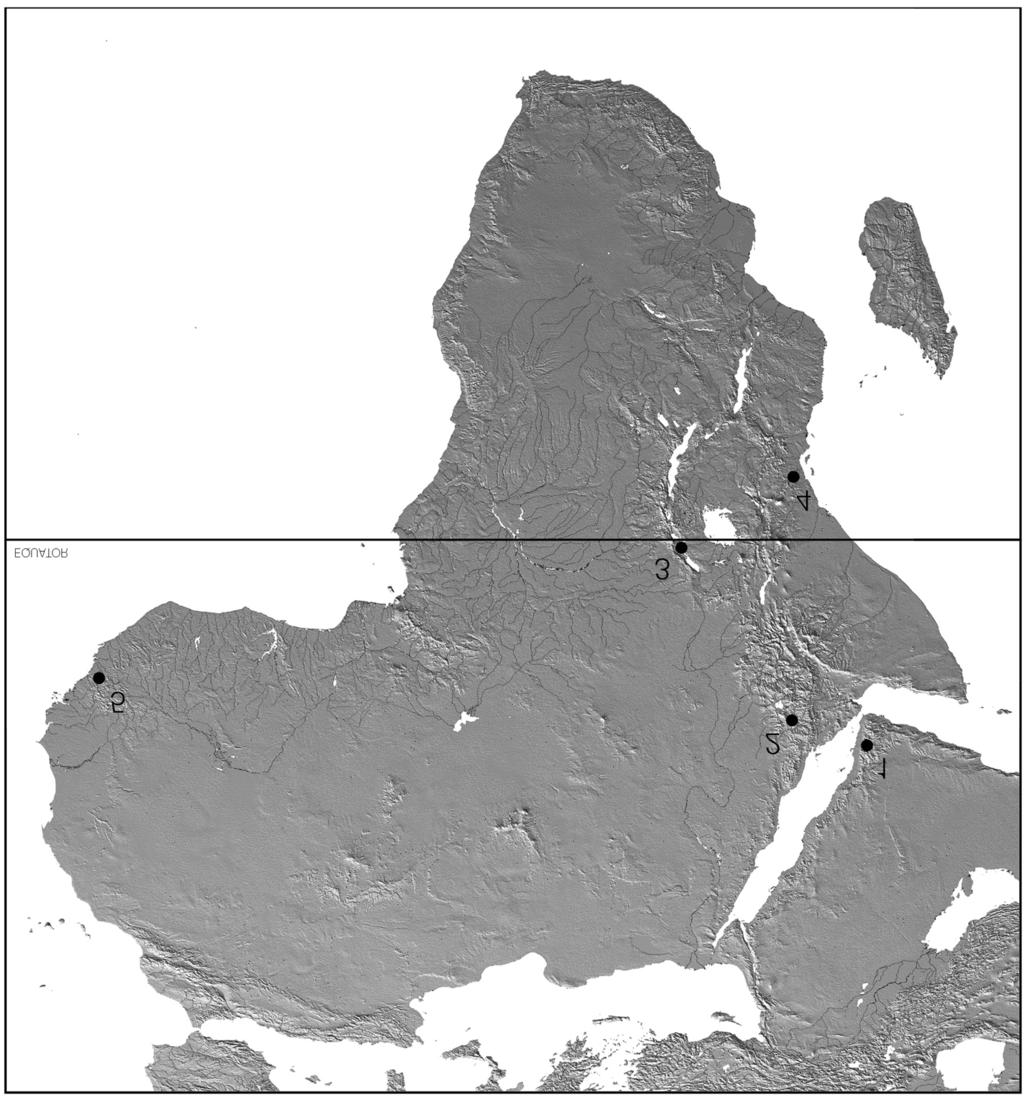 Known localities of Stactobia MCLACHLAN in the Afrotropical Region: 1 =