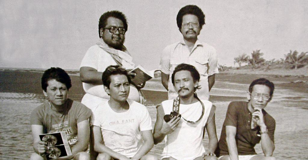 Original PLAC on a Cavite beach: (Top) Alfrredo Navarro Salanga and Cirilo F. Bautista; (Bottom) Felix Fojas, Ricardo M. de Ungria, Alfred A. Yuson, and Gémino H. Abad.