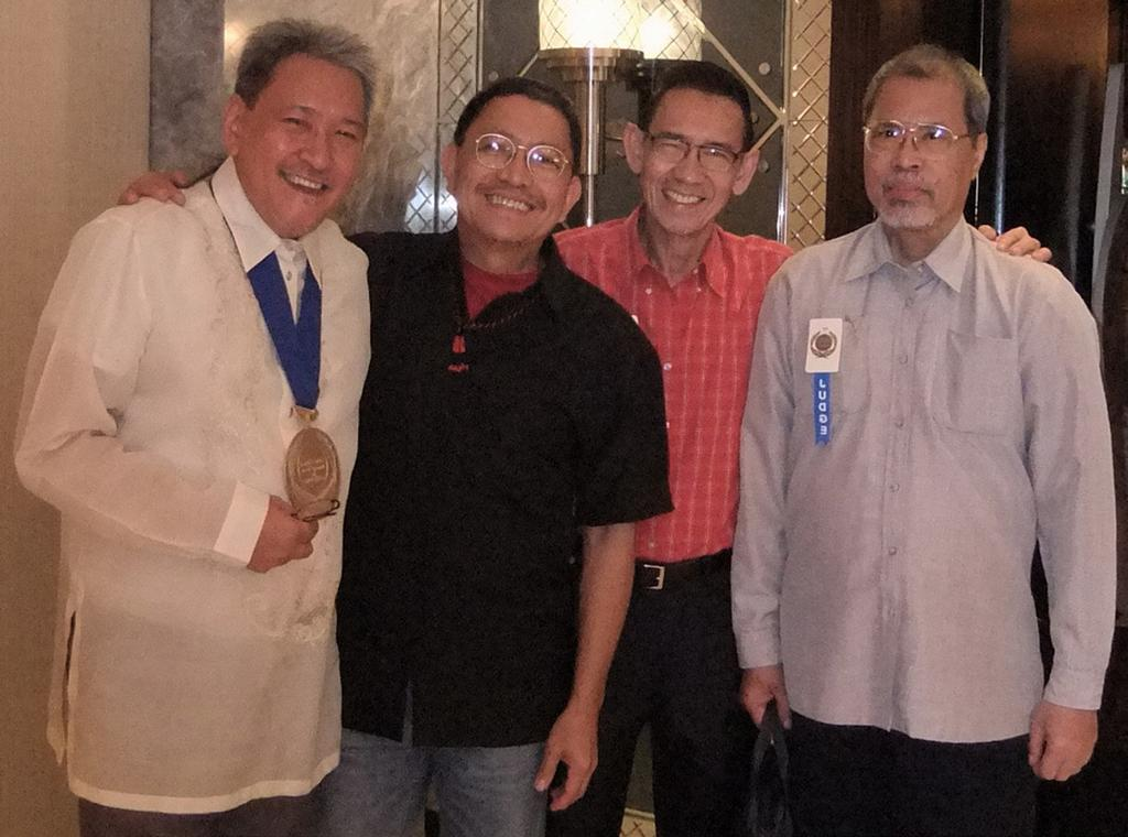 Palanca Awards Night: (Left to Right) Cirilo F. Bautista, Gémino H. Abad, Ricardo M. de Ungria, and Alfred A. Yuson.
