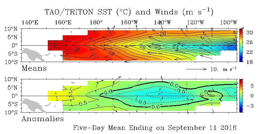 5-day SST and wind anomalies Trade winds near the equator in the Pacific Ocean have remained close to average for the 5 days ending 11 September, and have remained generally so since March.