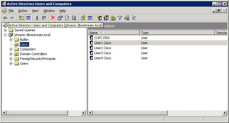 Figure 5: Active Directory User List 7. From Action>New, select User. 8. Enter first name and last name. 9.