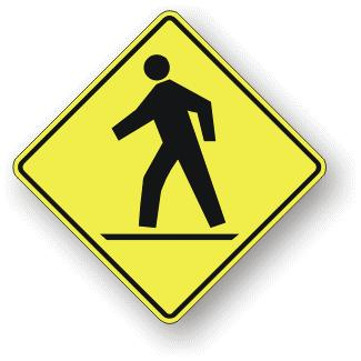 The Pedestrian Crosswalk Ahead Sign (WC-2) is used where there is limited visibility of the crosswalk or it is desired to draw additional motorist attention to an approaching crosswalk and should be