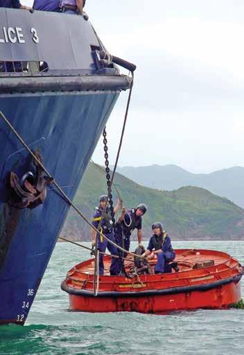 Marine Police trainees undergoing sea survival training have dealt with various threats to Hong Kong, including the Vietnamese boat people crisis of the late 70s and early 80s, the rampant Tai Fei