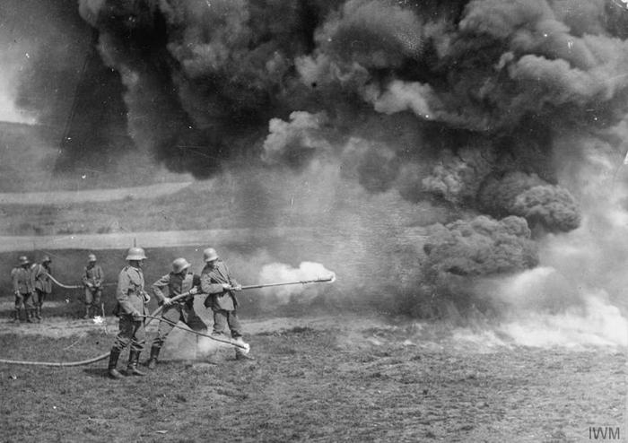 Figure 3: German soldiers practising with a flamethrower,