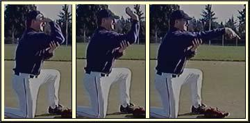 The player with the ball will get the proper grip on the baseball. The player will then bend his elbow and hold his forearm with his other hand.