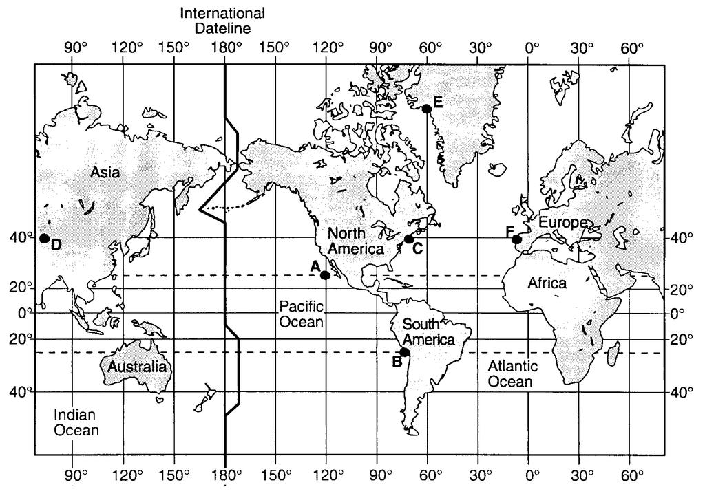 24. Base your answer to the following question on the map below. Letters A through F are locations on Earth s surface.