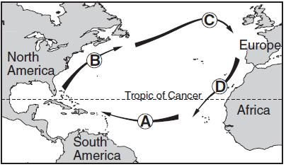 The map below shows the general path of ocean currents in a portion of the Northern Hemisphere. Locations A, B, C, and D are at the shoreline. 32.