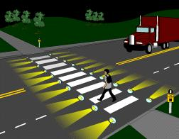 and might require the driver to slow down and possibly come to a stop. The pedestrian activates the system, either by using a push-button or through detection from an automated device.