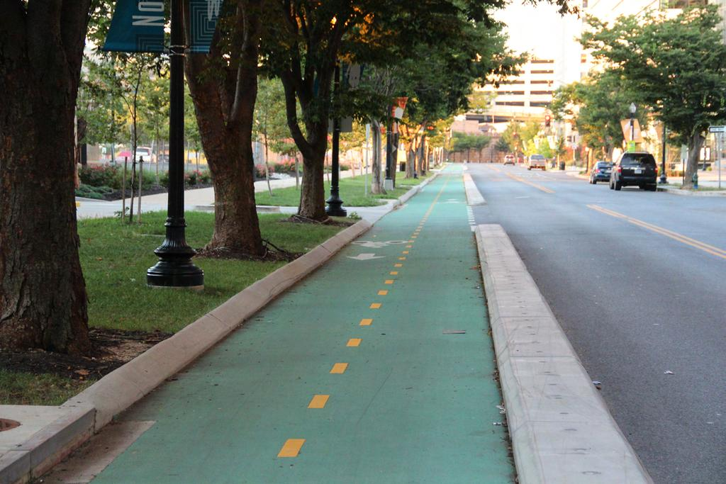 Two-way separated bike lane in