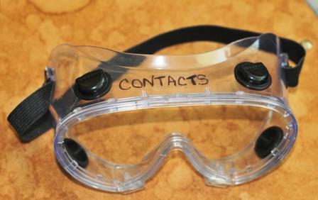 Personal Protection-Goggles & Contacts You should not wear contacts in the lab due to the potential of chemicals being trapped between the contact and your eye.