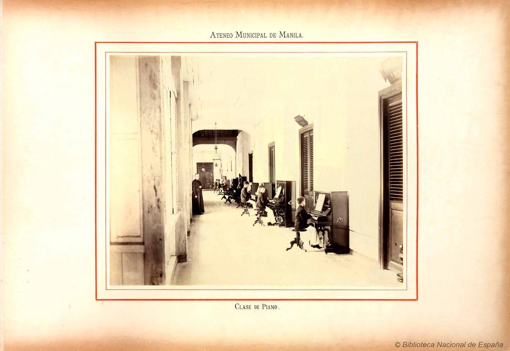 A piano class at the old Ateneo in Intramuros, from Ateneo Municipal de Manila: