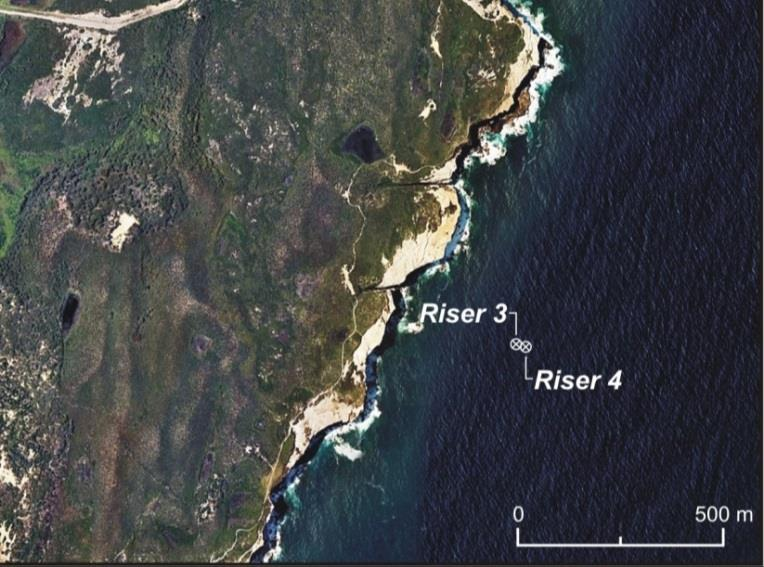 Figure 1. Location of the Outfall Risers Relative to the Coastline.