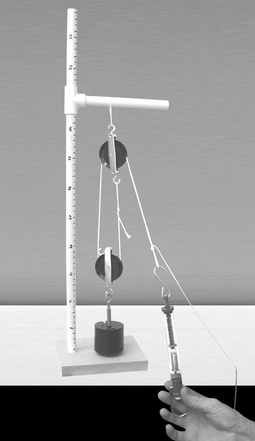 16. Change the pulley system to a block-and-tackle system with a single fixed pulley and a single moveable pulley (Figure 8): a.