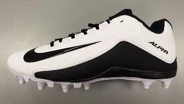 Weight:.213 kg Spike Lengths: 2.4 cm (heel) / 2 cm (medial/lateral forefoot) / 1.7 cm (mid-forefoot) Figure 3: Nike Alpha Strike 2 TD Football Cleat Weight:.318 kg Spike Lengths: 2.1 cm (heel) / 2.