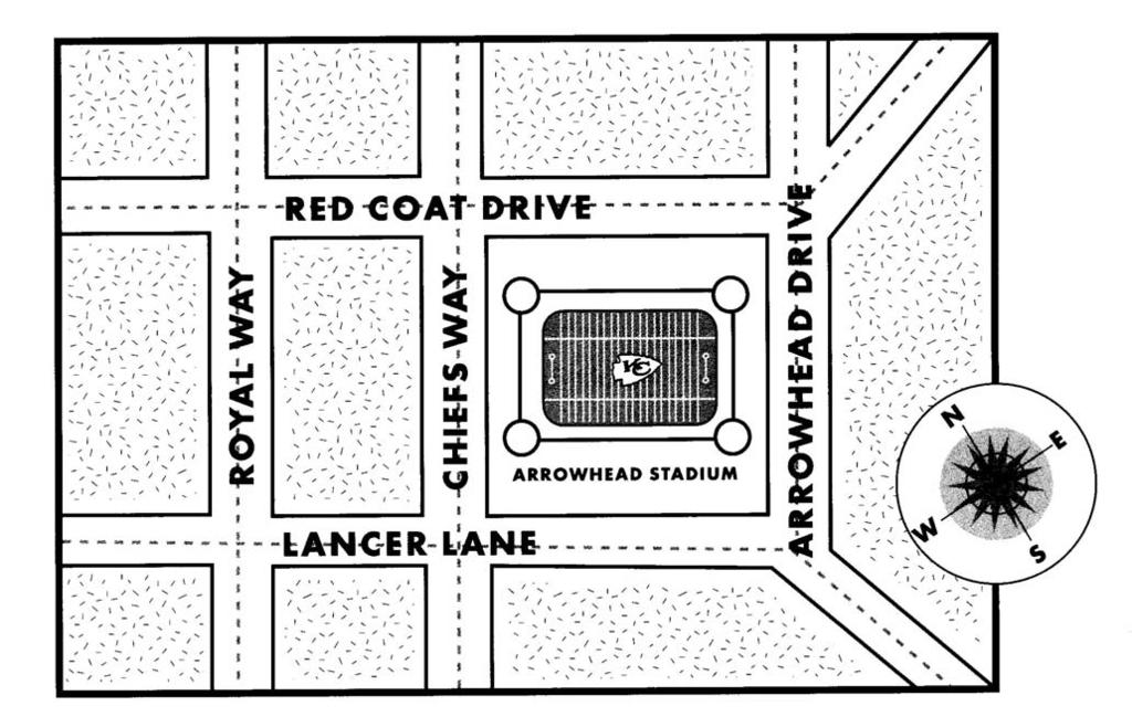 1. A ticket booth is located on the corner of Lancer Lane and Chiefs Way. Draw it. 2. The bus stop is west of the ticket booth on Lancer Lane. Put it on the map. 3.