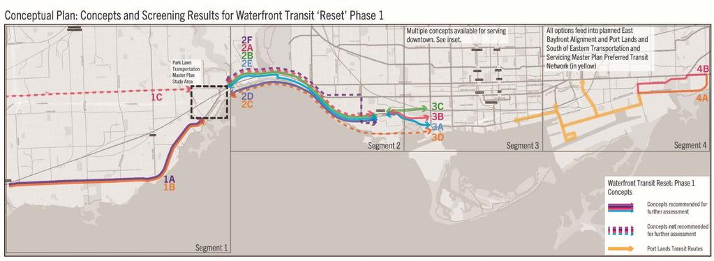 Waterfront Transit Reset The Waterfront Transit Reset is a partnership between the City, TTC, and Waterfront Toronto to improve transit across a large portion of the City s waterfront: A Phase 1