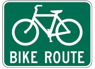 Design Considerations: Provide bicycle route signs every one-third to one-half