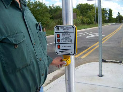 Flashing amber warning beacons can be utilized at unsignalized intersection crossings.