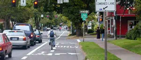 Designs for intersections with bicycle facilities should reduce conflict between bicyclists (and other vulnerable road users) and vehicles by heightening the level of visibility, denoting clear