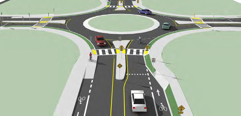 BICYCLISTS AT SINGLE LANE ROUNDABOUTS Description In single lane roundabouts it is important to indicate to motorists, bicyclists and pedestrians the right-ofway rules and correct way for them to