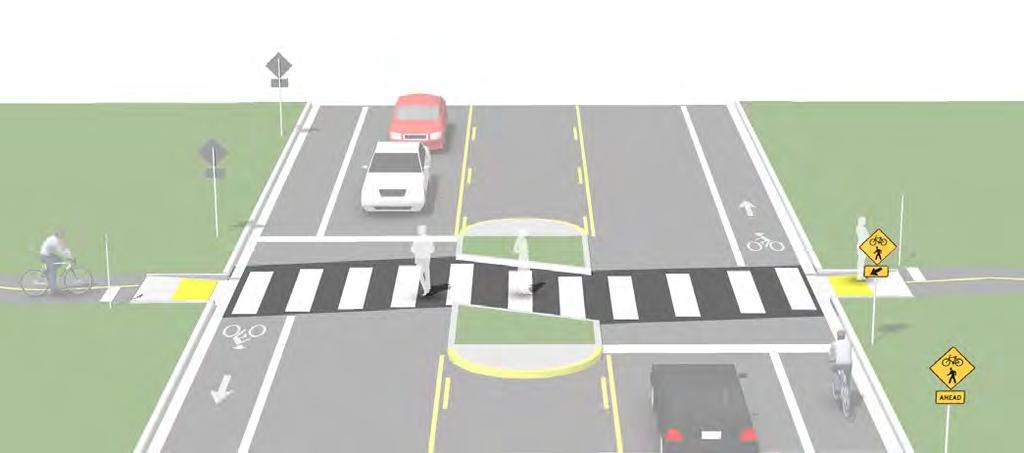 Unsignalized Marked Crossings Description An unsignalized marked crossing typically consists of a marked crossing area, signage, and other markings to slow or stop traffic.