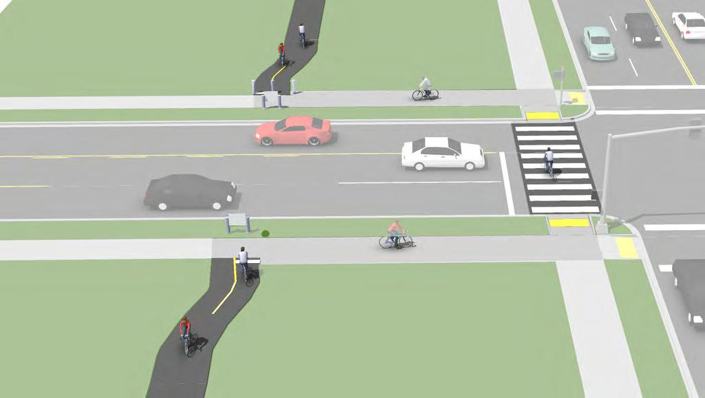 Route Users to Signalized Crossings Description Path crossings within approximately 400 feet of an existing signalized intersection with pedestrian crosswalks are typically diverted to the signalized