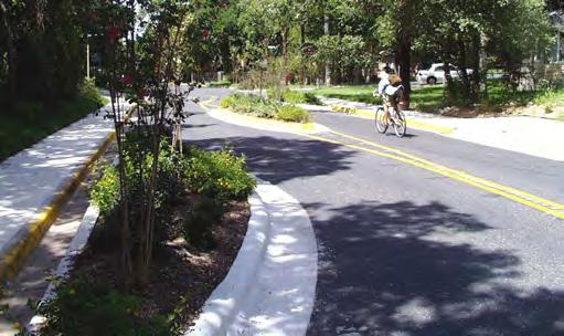 Traffic calming works best on local streets with residential areas and highly trafficked commercial corridors.