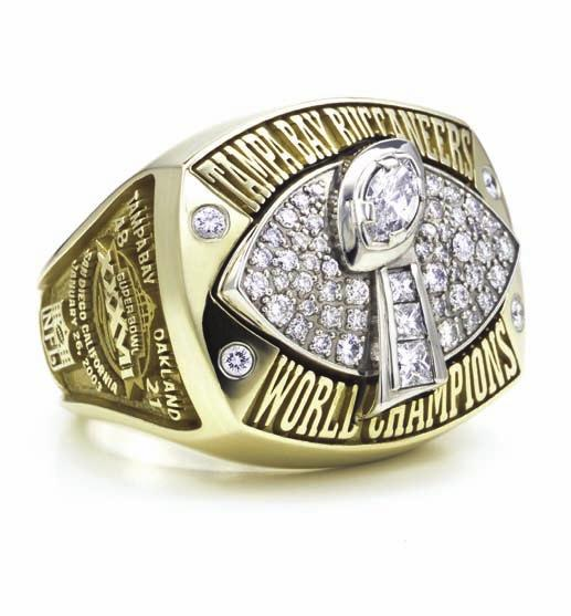 TAMPA BAY BUCCANEERS SUPER BOWL RING Sidelines Records History 2010 Review Players Ownership In the long-established tradition of creating custom awards for the world of sports, Tiffany & Co.