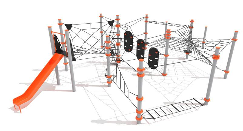 Mount Buller 11 modules including the slide making this unit suitable for more than 30 users at once! 1. Ascend Climber Right 2. Cargo Net - Low 3. Chasm Crossing - Senior 4. Parkour Tri - High 5.
