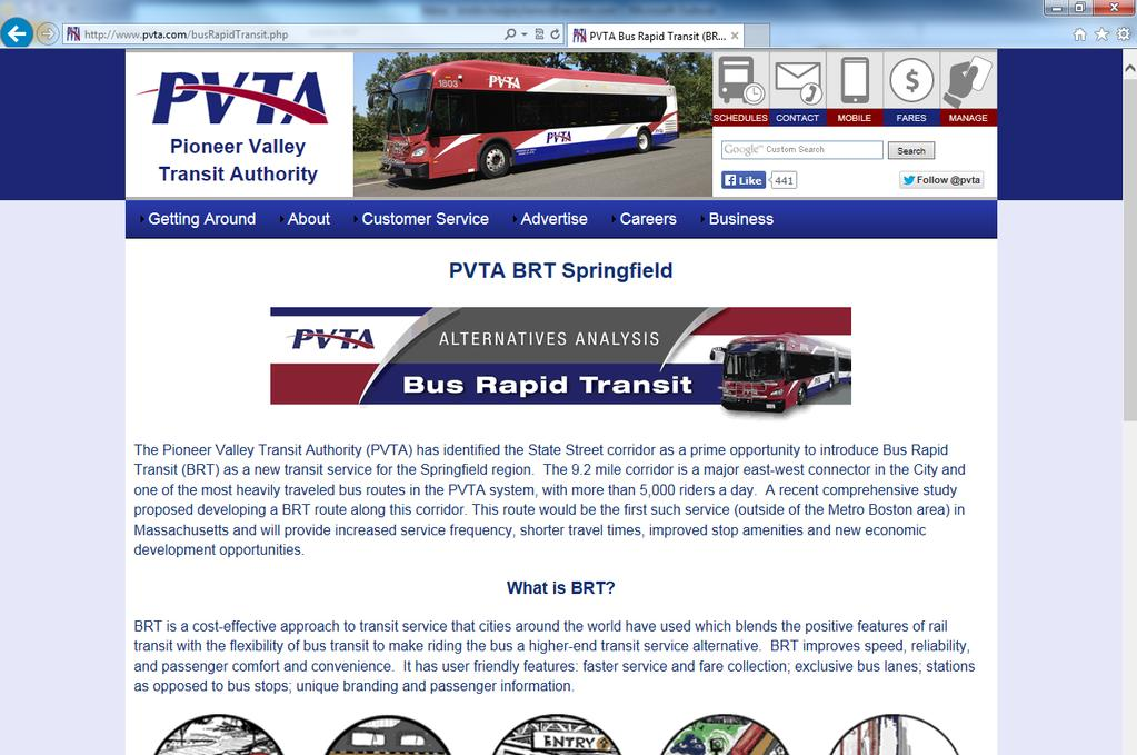 PVTA BRT Project Website PVTA Bus