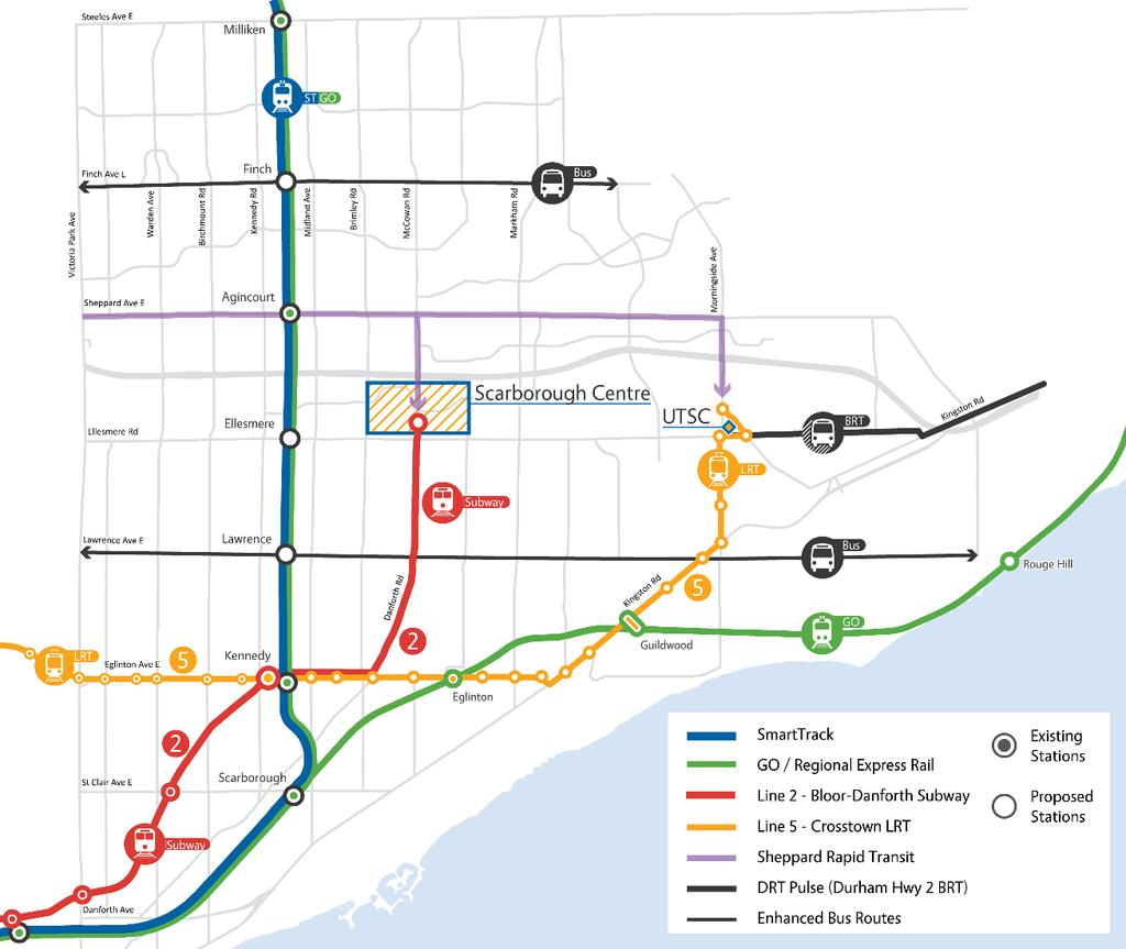 Figure 4: 2026 Recommended Rapid Transit network for Scarborough (including high frequency bus corridors) Relief Line Evaluation criteria for use throughout the Relief Line Project Assessment were