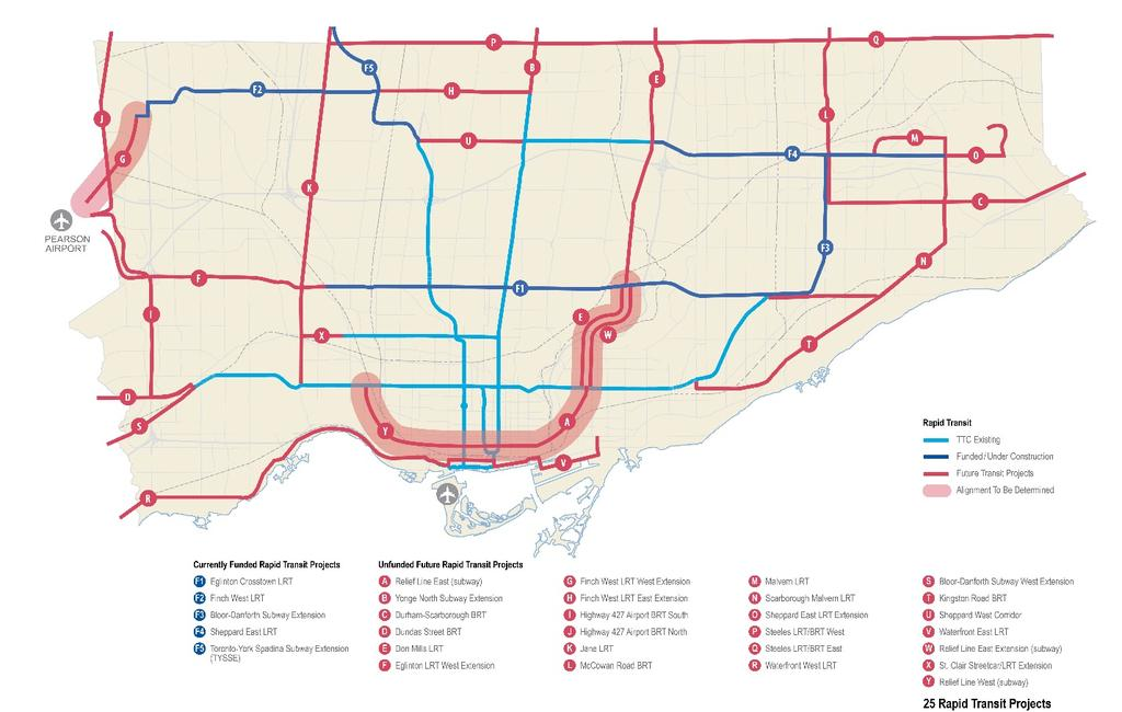 "The ""Feeling Congested?"" draft comprehensive transit network in 2013 comprised 25 proposed new transit expansion projects that had been identified by the City, TTC and/or Metrolinx."