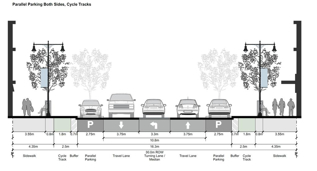 Desire to reduce speed for vehicles. Desire to link the Downtown with the waterfront area. The Revised Concept (Summary) Parallel parking replacing angle parking.