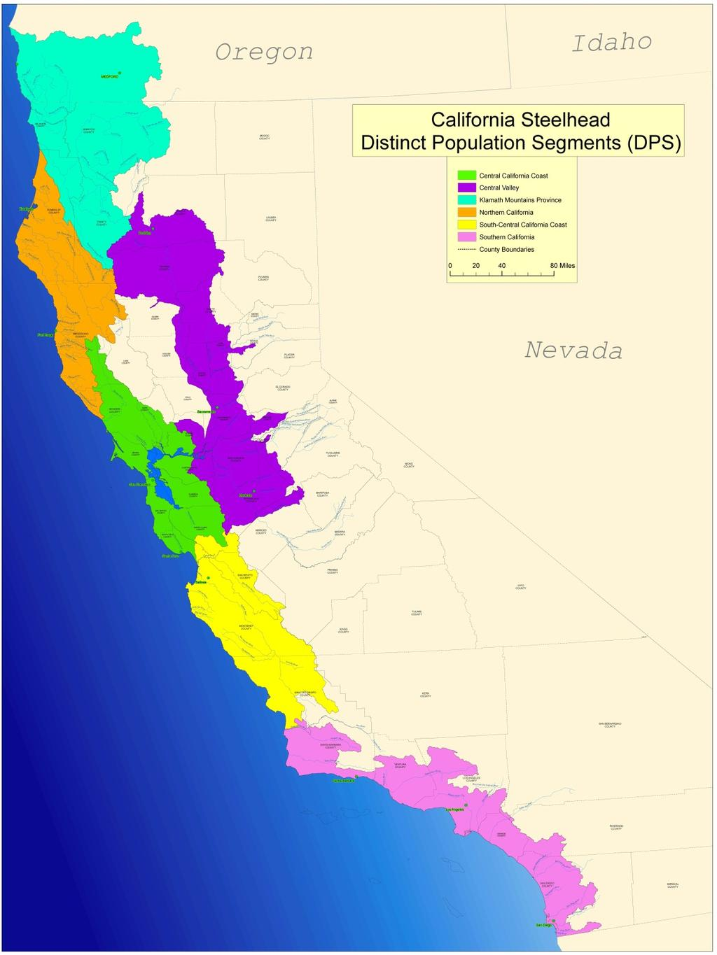 California Steelhead Distinct Population Segments (DPS) Klamath Mountains Province Klamath Mountains Province Status: Not warranted (2001) Northern California Status: Threatened (2000) Central
