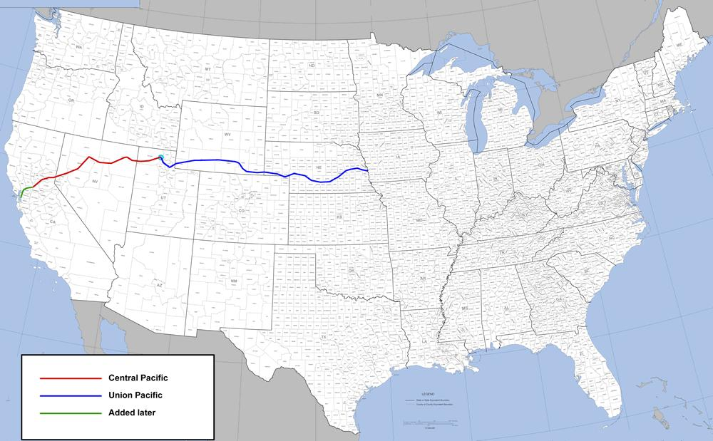 1 st transcontinental railroad connected the west coast to eastern
