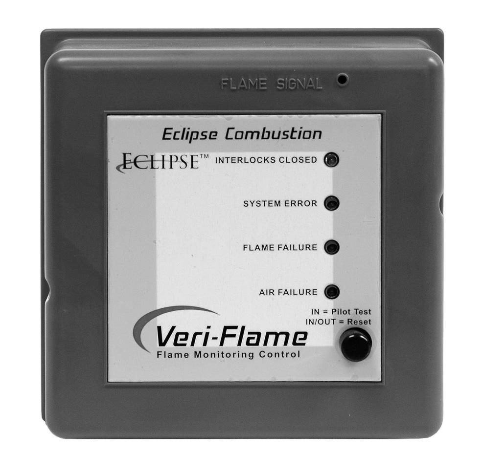 Introduction 1 Product Description The Eclipse Combustion Veri-Flame Single Burner Monitoring System controls the start-up sequence and monitors the flame of single gas, oil, or combination gas/oil