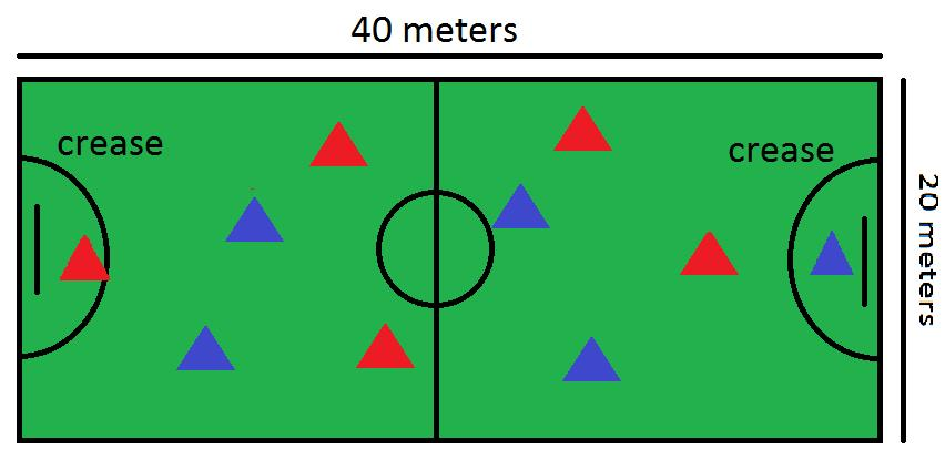 Size field is 40 meters x 20 meters. One goal in each side and there is a half-circumference named crease (zone) During the match, there are playing 5 players per team (1 goalkeeper per team).