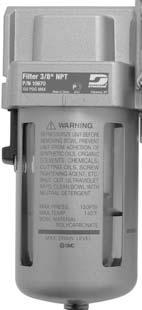 "Filter - 10671 Standard Specifications Port Size: 1/2"" Fluid: Air Proof Pressure: 218 PSIG (15 Bar) Maximum Operating"