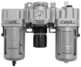 Filter-Regulator-Lubricator Cost-Effective Maintenance for Air Supply Systems Filter Five-micron filter element is standard. Manual push-button drain easily discharges contaminants.