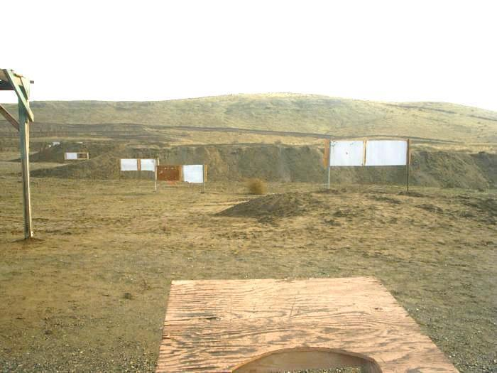 TCMSA range layout: To the right of the 50 yard area is the pistol area. There are two concrete benches, and target stands at 25, 15 and 7 yards. There is one backstop at 25 yards.