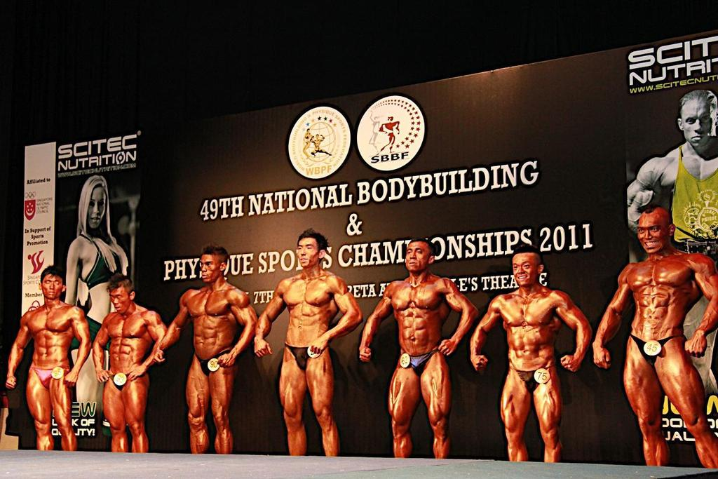 MR SINGAPORE 2011 LINE UP (Selection of Overall Champion from Men s Senior Bodybuilding Category Winners) L- R - Lin Jia Xiang Max,