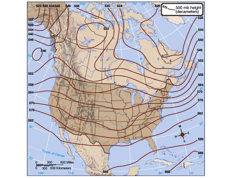 CORIOLIS EFFECT Horizontal Horizontal pressure patterns in the upper atmosphere are shown using pressure surface height maps.