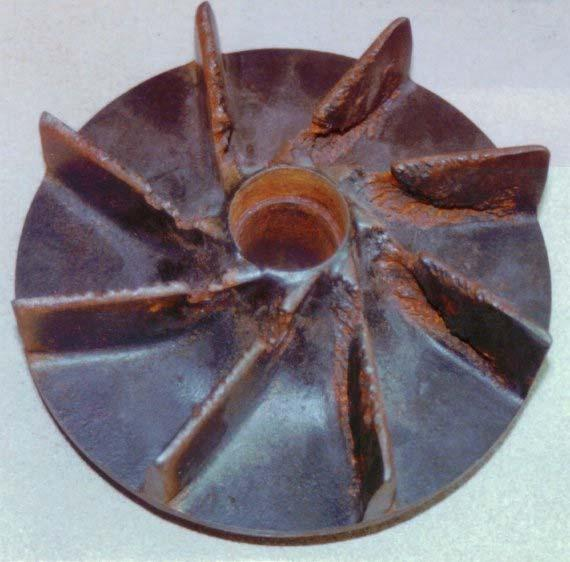 page.8 Figure 8 Impeller damaged by cavitation. The formula for NPSHA based on a pressure measurement at the pump suction is: NPSH p ft fluid absol. ) = 2.