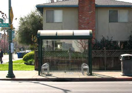 SEATING, SHELTER AND AMENITIES All transit shelters should provide seating and protection from the sun, wind and rain. This can be achieved with either trees or a shelter, or both.