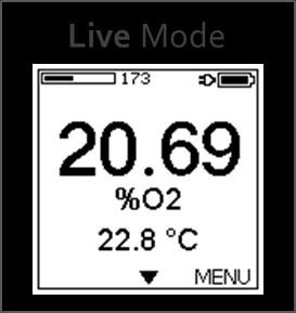 3.4 Operation Modes The user interface of the FireStingGO2 meter comprises five different operation modes: Live Mode, Menu Mode, Logging Mode, Standby Mode, and PC Mode. 3.4.1 Live Mode After switching on the FireStingGO2, the device starts in the Live Mode.