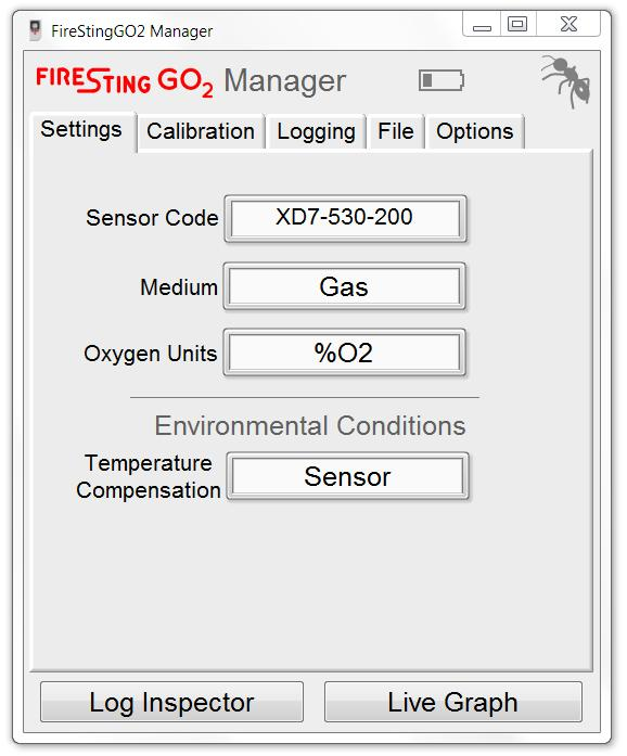 The main window of the FireStingGO2 Manager offers 5 different tabs (Settings, Calibration, Logging, File and Options) for controlling the FireStingGO2 (more details below).