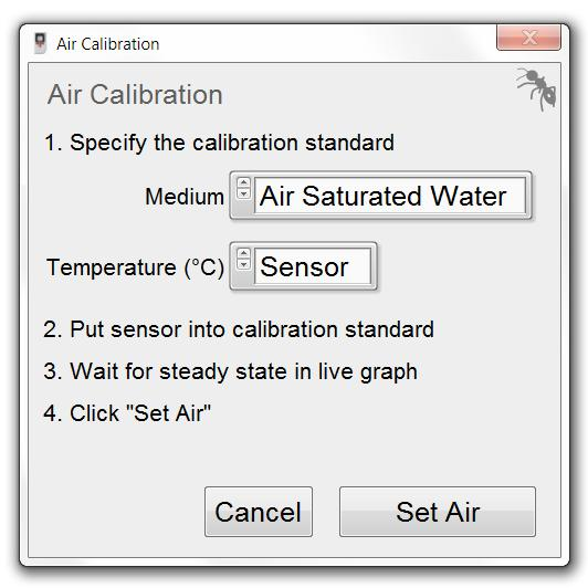 Settings tab (chapter 10.3.2). Double check the entered Sensor Code is identical to the one written on the label attached to the sensor cable or on the bag of the sensor. 10.3.4 Air Calibration Click on the button Calibrate Air to open the Air Calibration window.