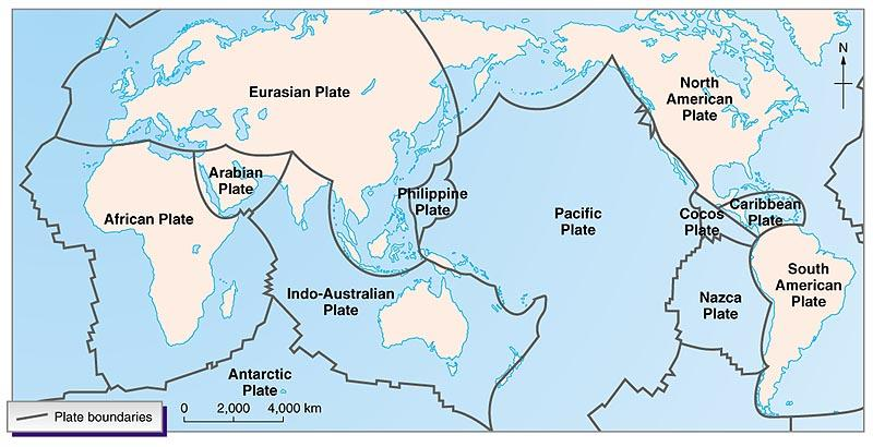 denser than the continental portion composed of granite which is enriched with silica. 5 Tectonic processes and plate movements define the contours of the Pacific Ocean.