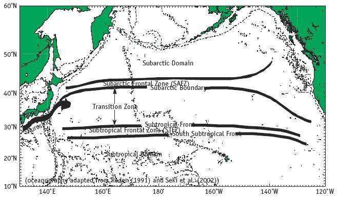 3.2.8 Transition Zones Transition zones are areas of ocean water bounded to the north and south by large-scale surface currents originating from subartic and subtropical locations (Polovina et al.