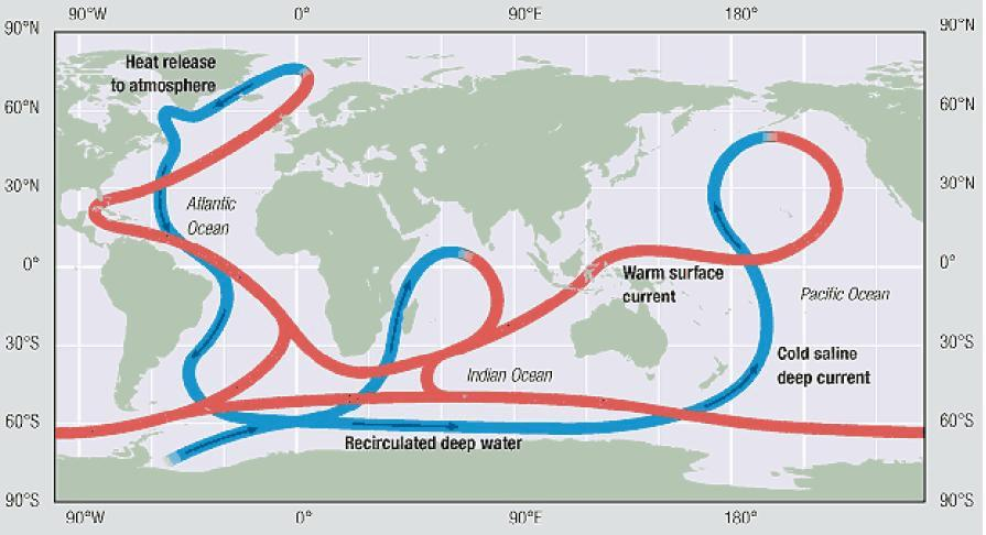 3.2.10 Deep-Ocean Currents Deep-ocean currents, or thermohaline movements, are a result of density differences in the ocean from the effects of salinity and temperature on seawater (Tomzack and